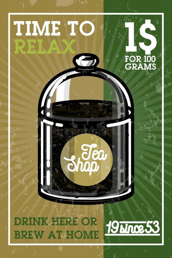Koloru rocznika herbaty sklepu sztandar royalty ilustracja