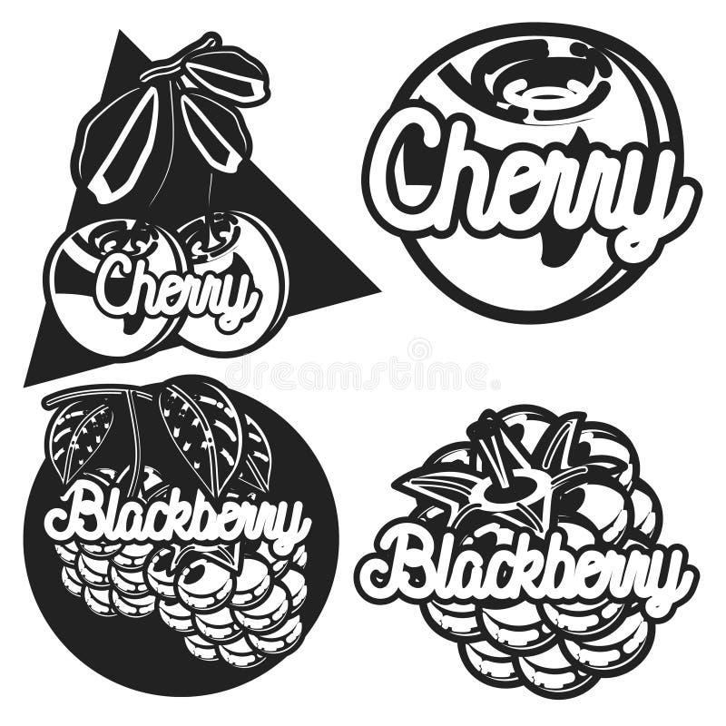 Koloru rocznika owoc emblematy ilustracji