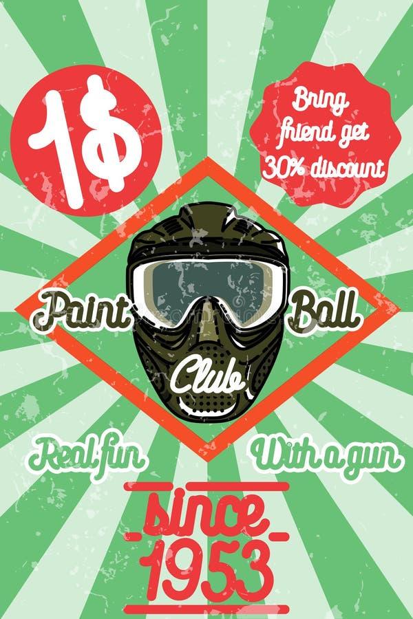 Koloru rocznika paintball plakat royalty ilustracja