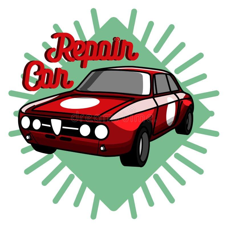 Koloru rocznika samochodu naprawy emblemat royalty ilustracja