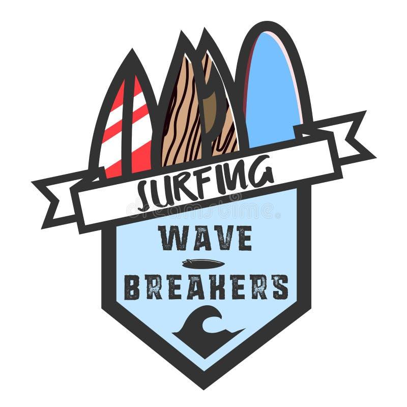 Koloru rocznika surfingu emblemat ilustracji