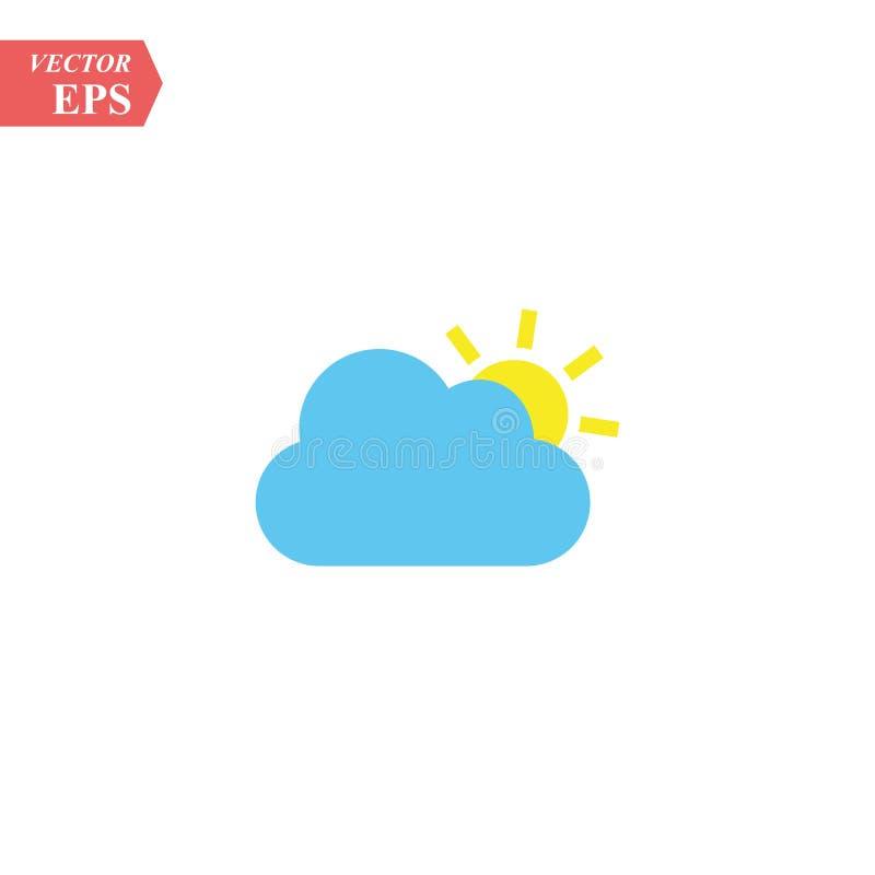 Koloru słońca chmury ikona odizolowywająca na tle Nowożytny płaski piktogram, biznes, marketing, interneta pojęcie Modny Prosty ilustracja wektor