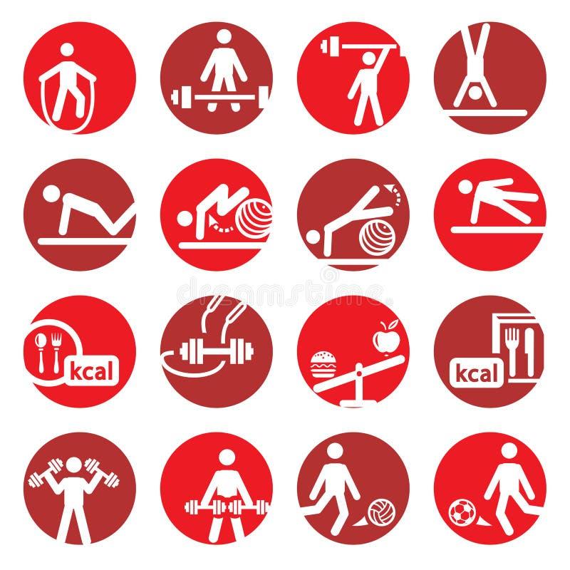 Koloru sporta i sprawności fizycznej ikony royalty ilustracja