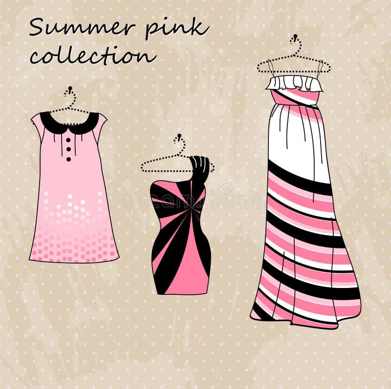 koloru sukni różowy set trzy ilustracji