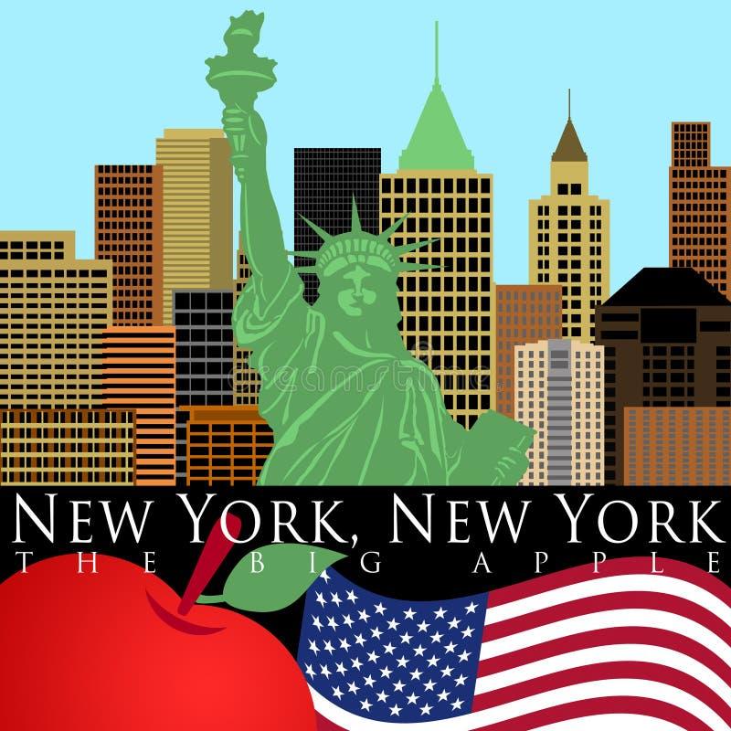 koloru swobody nowa linia horyzontu statua York royalty ilustracja