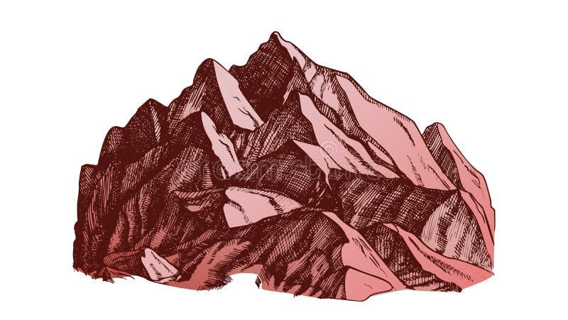 Koloru szczyt Halnego Crag krajobrazu ręka Rysujący wektor ilustracja wektor