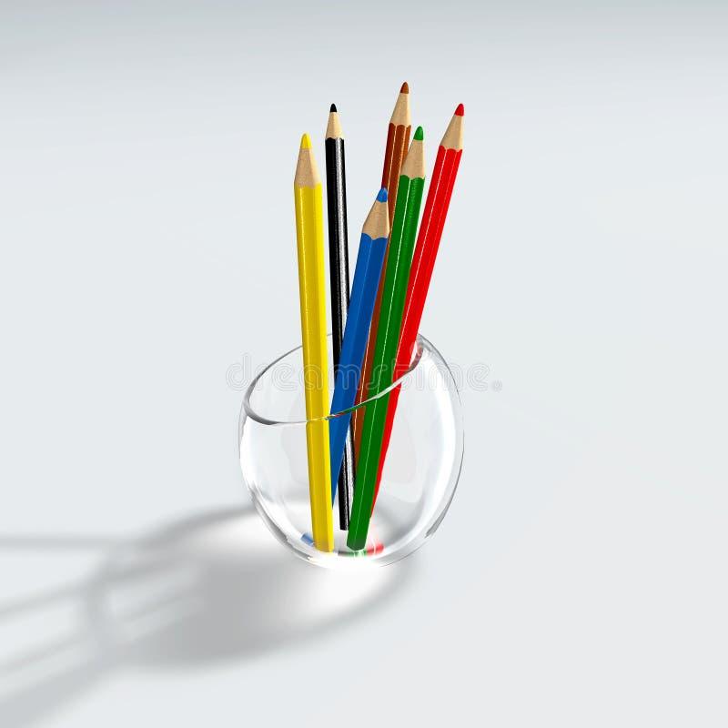 koloru szklani właściciela ołówki ilustracji