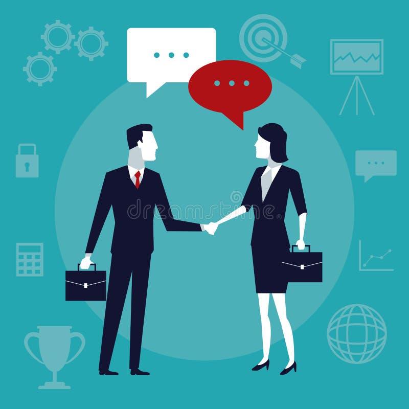 Koloru tła biznesowy przyrost z ludźmi biznesu bierze ręki i rozmowa w tekscie rozmawiamy royalty ilustracja