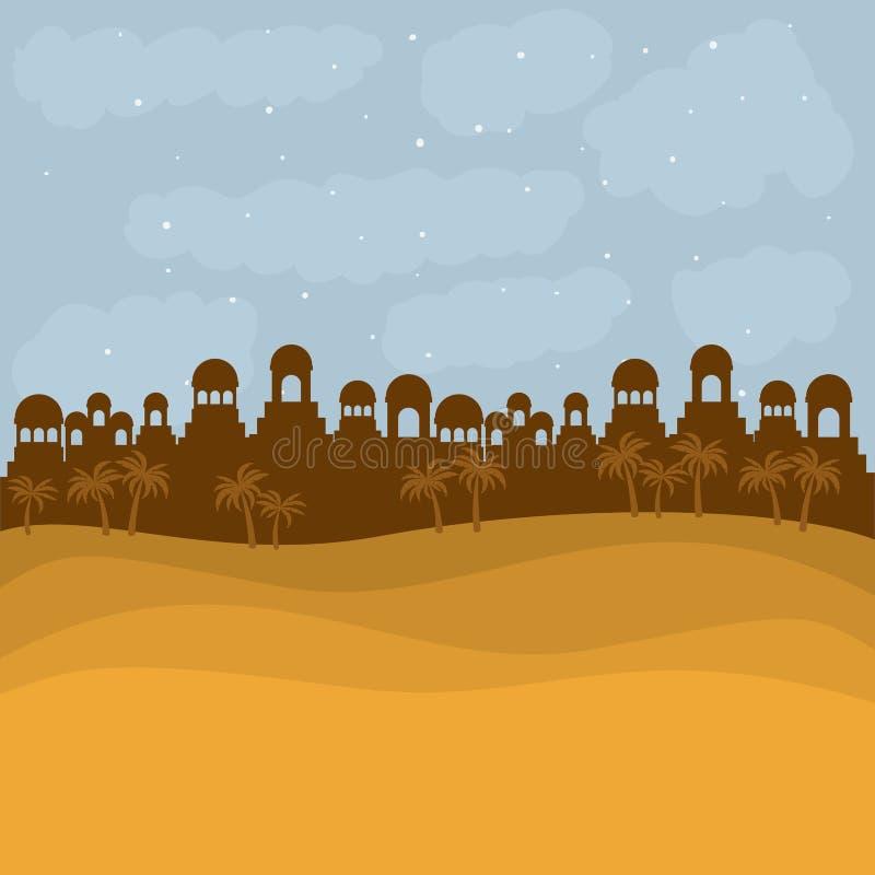 Koloru tło w zmierzch pustyni Bethlehem royalty ilustracja