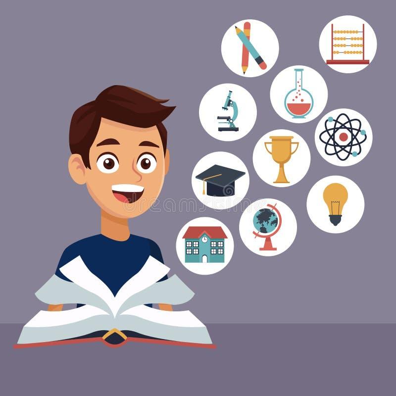 Koloru tło z chłopiec uczniem z książką w uczenie z elementami uczy kogoś ikon unosić się ilustracji
