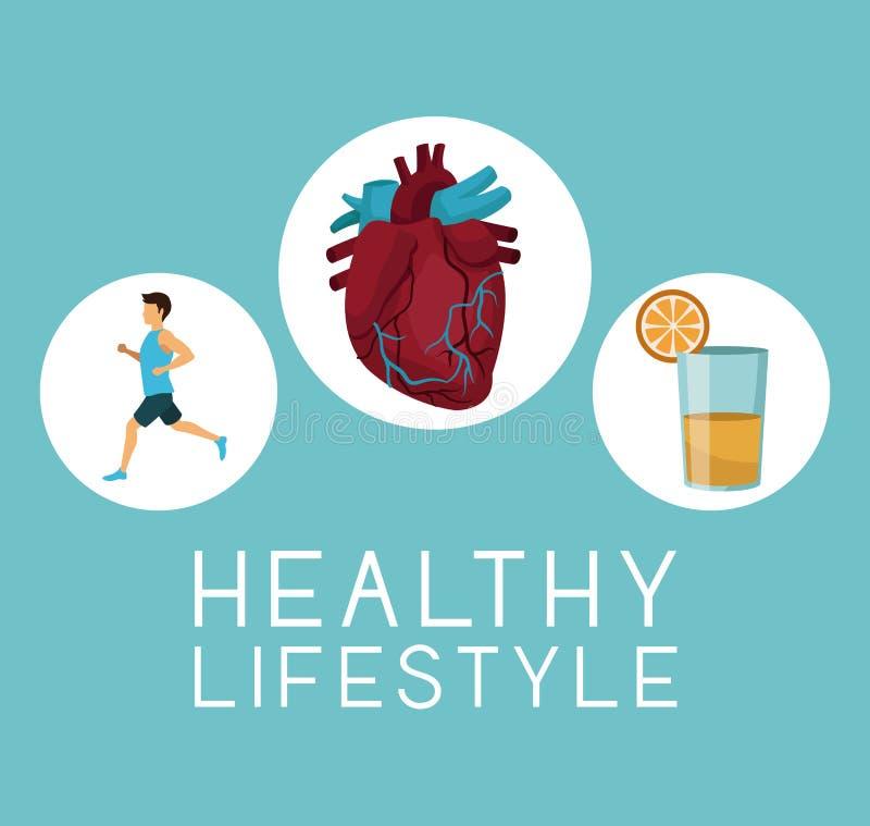 Koloru tło z ikony kurendy ramą ruinning z kierowym organu i soku pomarańczowego tekstem zdrowym sporta mężczyzna ilustracja wektor