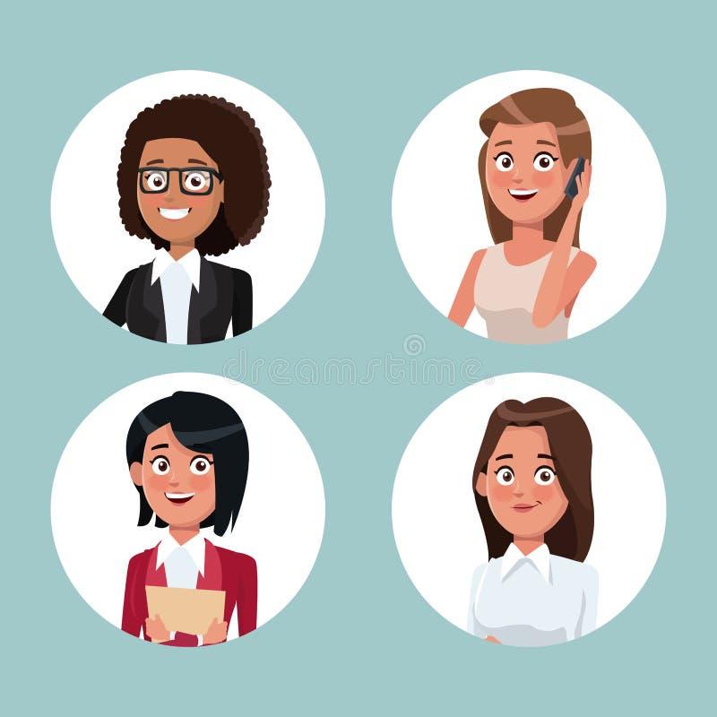 Koloru tło z kurendy ramy ikonami ustawia przyrodnich ciało kobiet charaktery dla biznesu royalty ilustracja