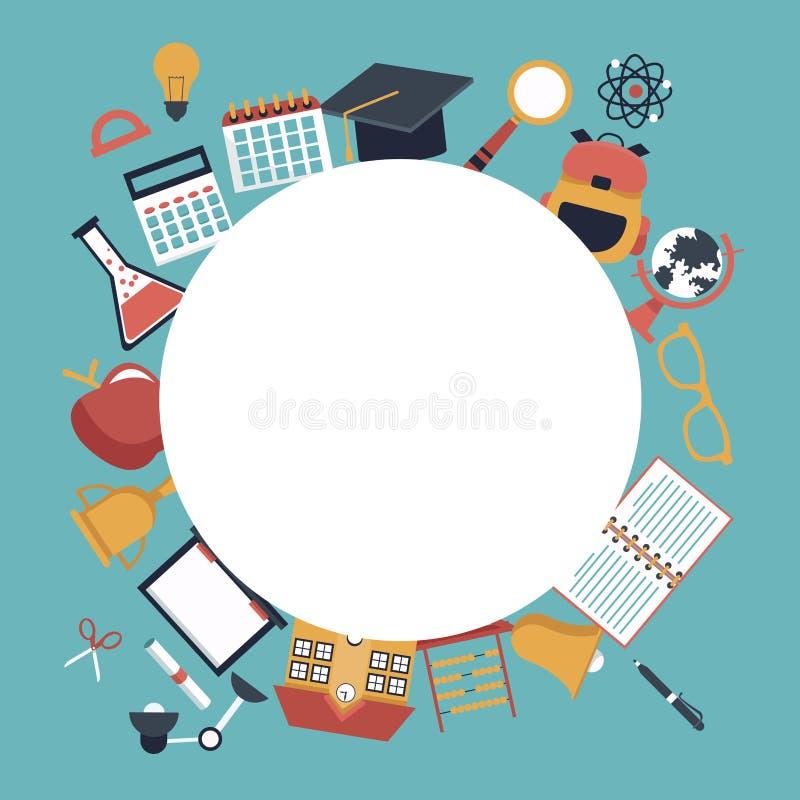 Koloru tło z kurendy ramy pustymi i ustalonymi szkolnymi element ikonami wokoło royalty ilustracja