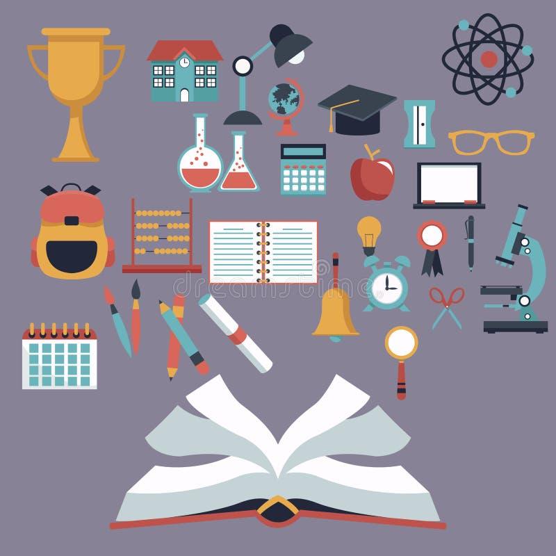 Koloru tło z otwartymi książki i setu szkolnymi elementami ilustracja wektor