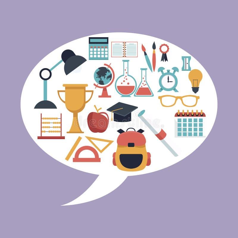 Koloru tło z owalnym dialog pudełkiem z set szkoły elementów ikonami inside ilustracji