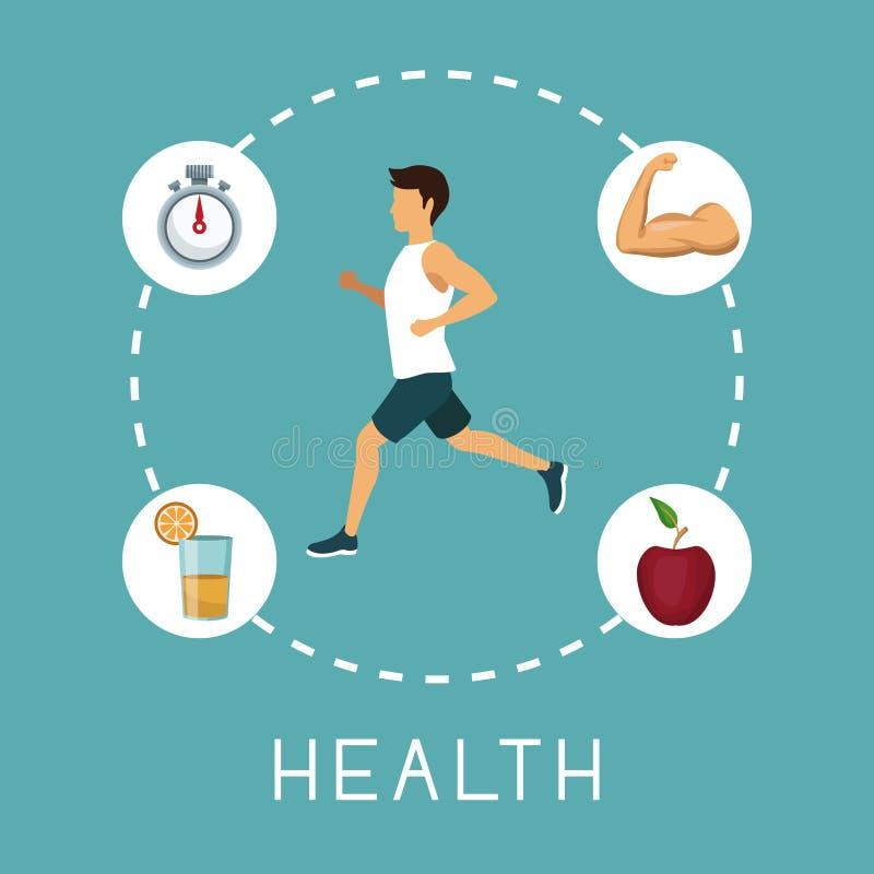 Koloru tło z sporta mężczyzna bieg w centrum z chronometru soku pomarańczowego mięśnia ręką i jabłko owoc wokoło teksta royalty ilustracja