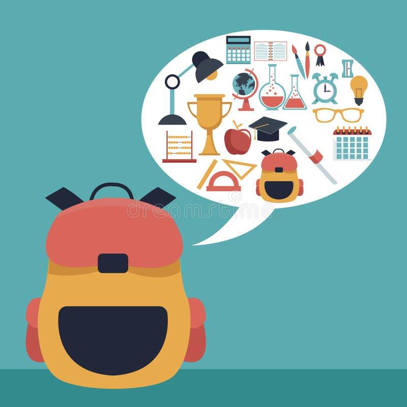 Koloru tło z zbliżenie teczki szkołą i dialog pudełkiem z elementami akademickimi ilustracja wektor