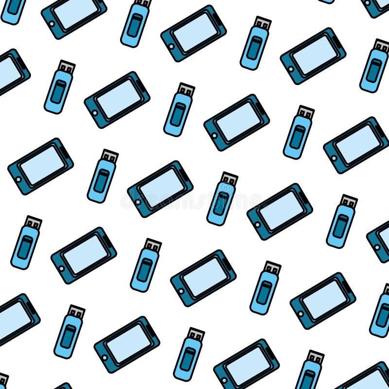 Koloru usb i smartphone pamięci technologii tło royalty ilustracja