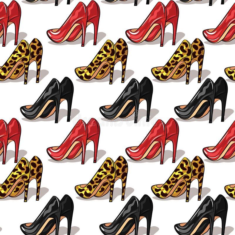 Koloru wektorowy bezszwowy wzór kobiet szpilek buty Eleganccy, eleganccy buty różni kolory odizolowywający na białym tle, ilustracja wektor