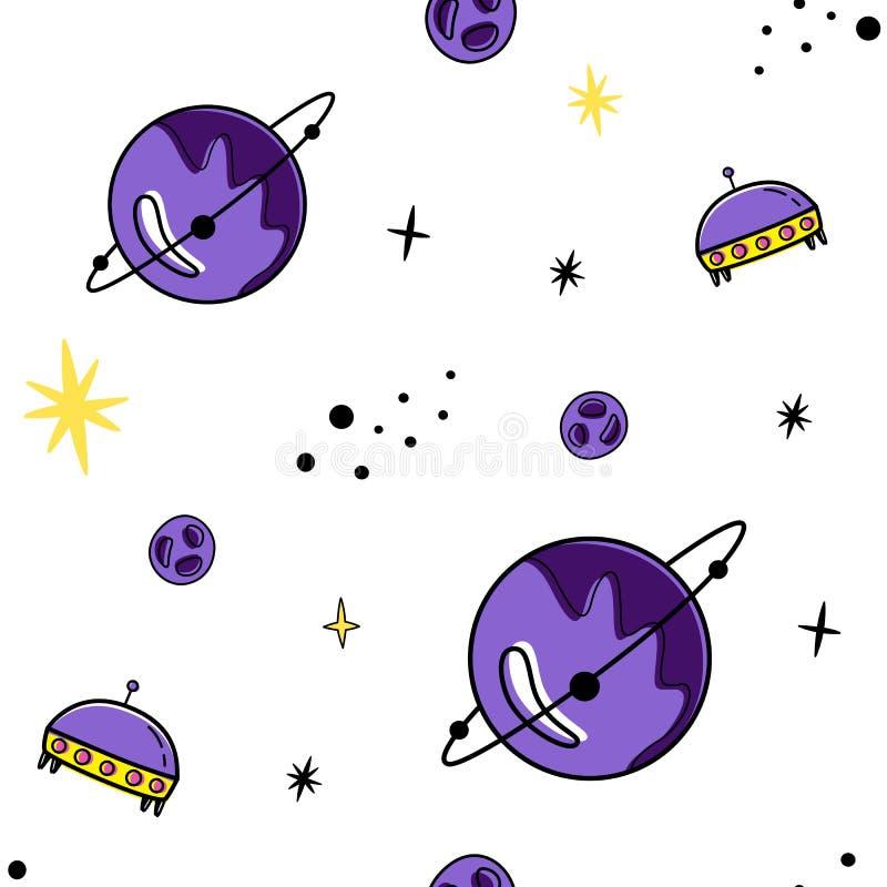 Koloru wektorowy bezszwowy wzór z astronautycznymi elementami Doodle styl Planety, gwiazdy, satelity royalty ilustracja