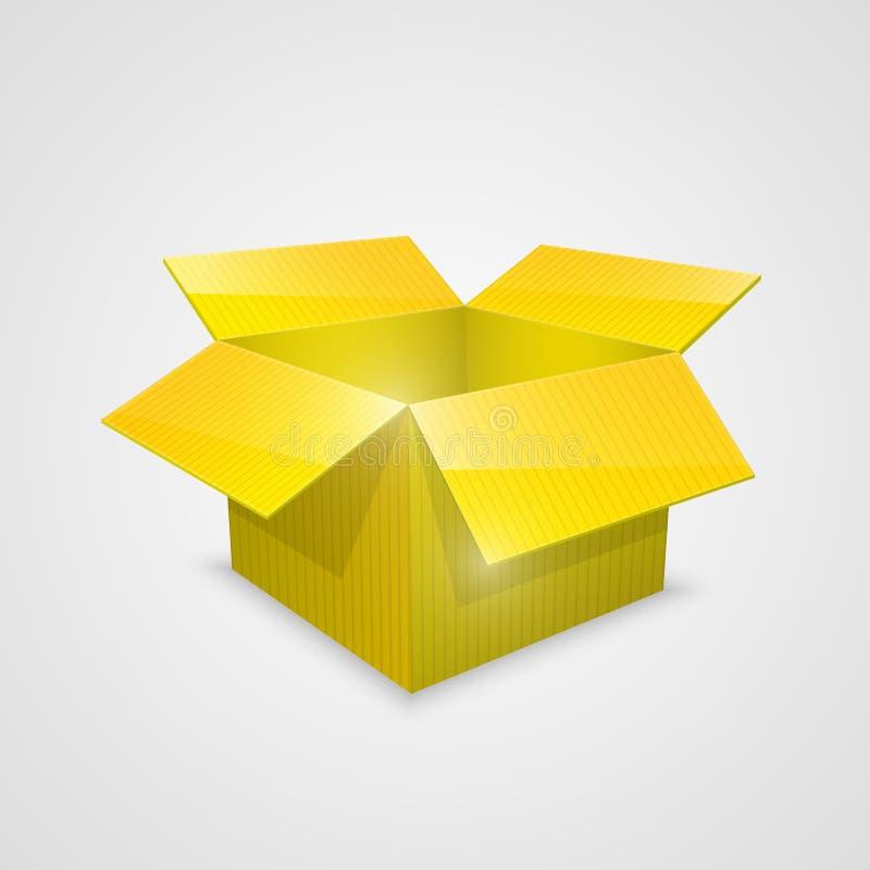 Koloru wektoru otwarty pudełko yellow royalty ilustracja
