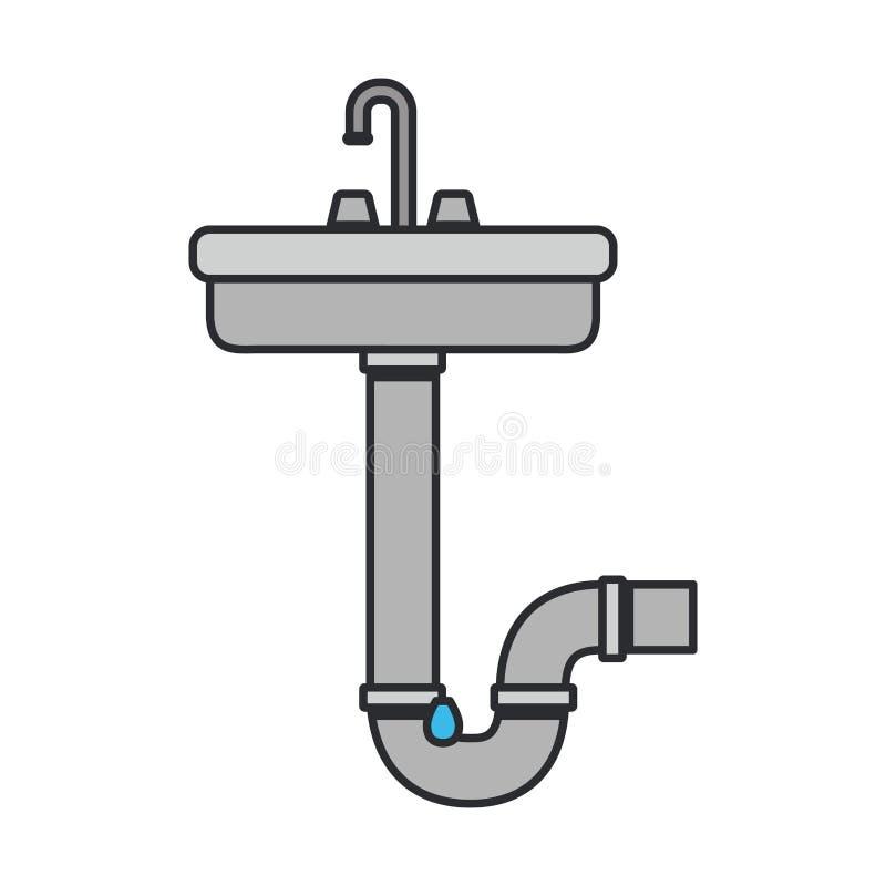 Koloru wizerunek washbasin i rynsztokowa drymba royalty ilustracja