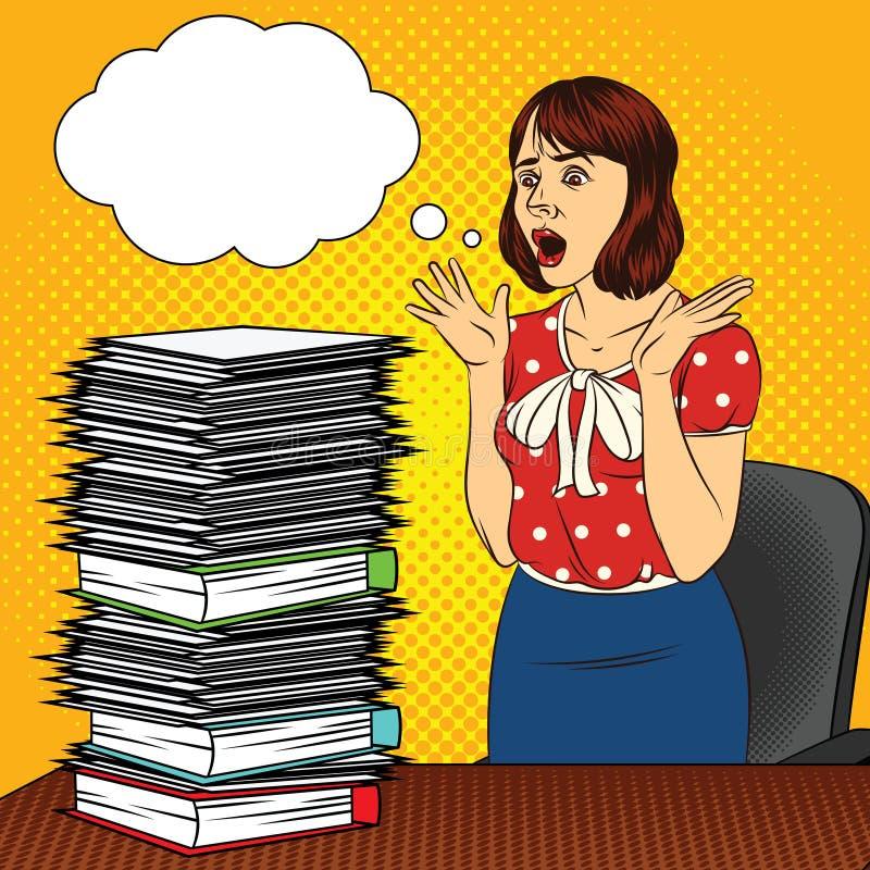Koloru wystrzału sztuki komiczki stylu wektorowa ilustracja dziewczyna w biurze Dziewczyna przy biurkiem Ruchliwie kobieta robi b royalty ilustracja