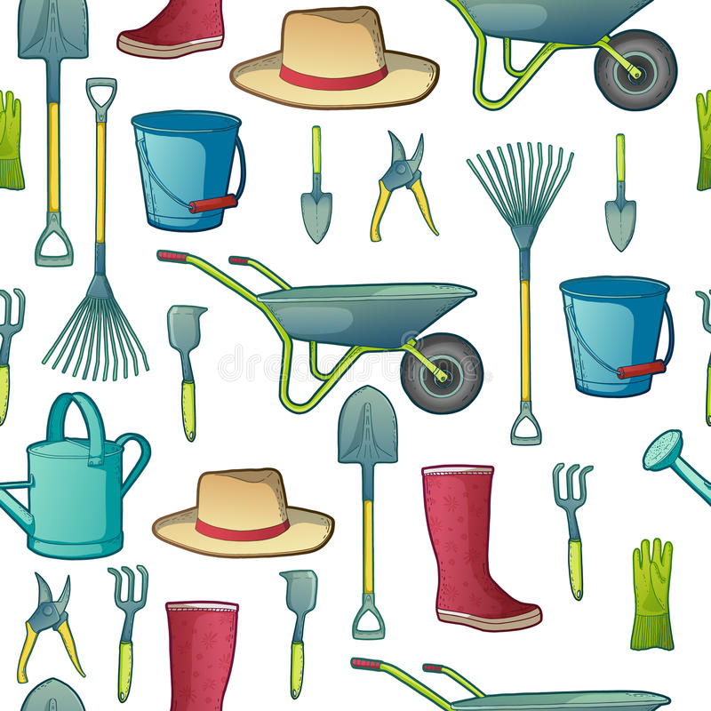 Download Koloru Wzór Z Ogrodowymi Narzędziami Instrumenty, Kapelusz Ilustracja Wektor - Ilustracja złożonej z ikona, garnek: 57661203