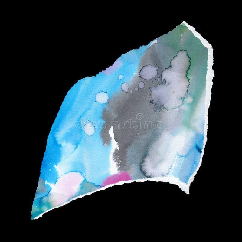 Kolory akwareli, ilustracja rastra mieszania Wielokolorowa plaster z farbą w kolorze wodnym, izolowany na czarnym tle obraz stock