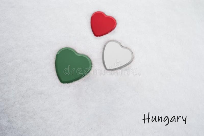 Kolory hungarian chorągwiana Francuska malinka, biel amazonka, zieleń,/malowali na trzy sercach zdjęcie royalty free
