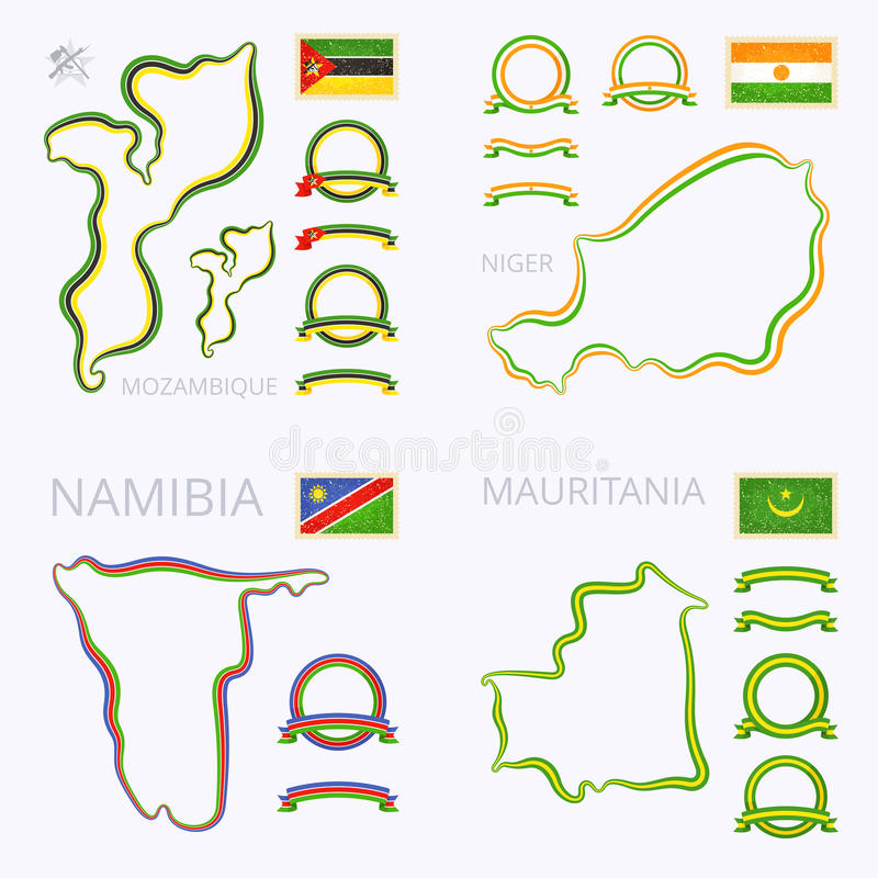 Kolory Mozambik, Niger, Namibia i Mauretania, ilustracji