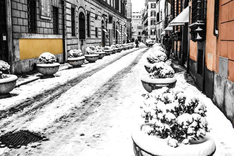 Kolory Rzym pod śniegiem fotografia stock