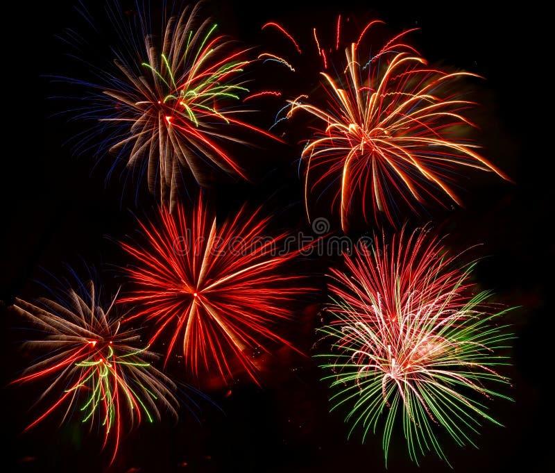 Kolory zaświecają w górę nowy rok wigilii w małym Floryda miasteczku obraz royalty free
