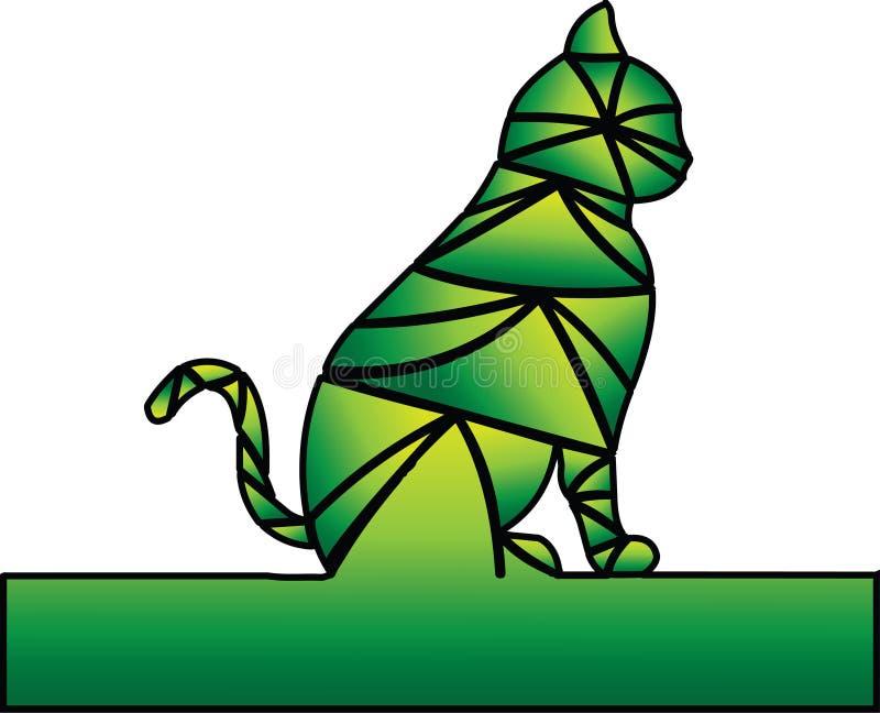 Kolory zieleń i kolor żółty Kot czeka royalty ilustracja