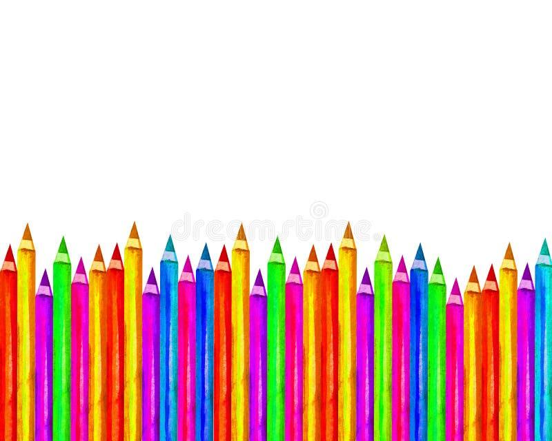 Kolorystyczne ołówki drewniane, wyizolowane na białym tle, puste ramy z powrotem do szkoły, sztuki i kreatywności ilustracji