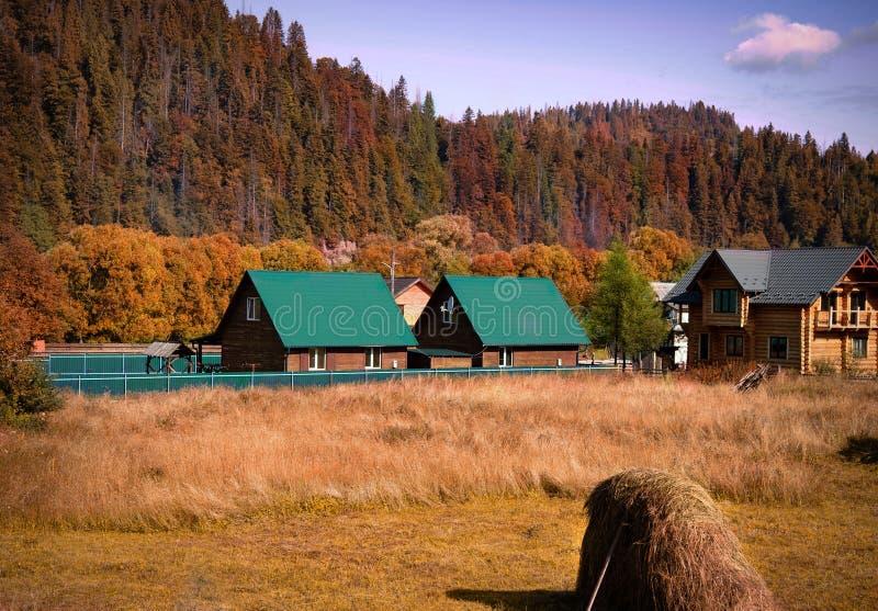 Kolorystyczny krajobraz jesienny we wsi górskiej Góry Karpackie, Ukraina obraz royalty free