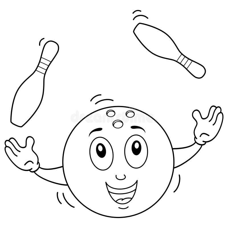 Kolorystyka kręgli piłki charakter z kręglami ilustracji