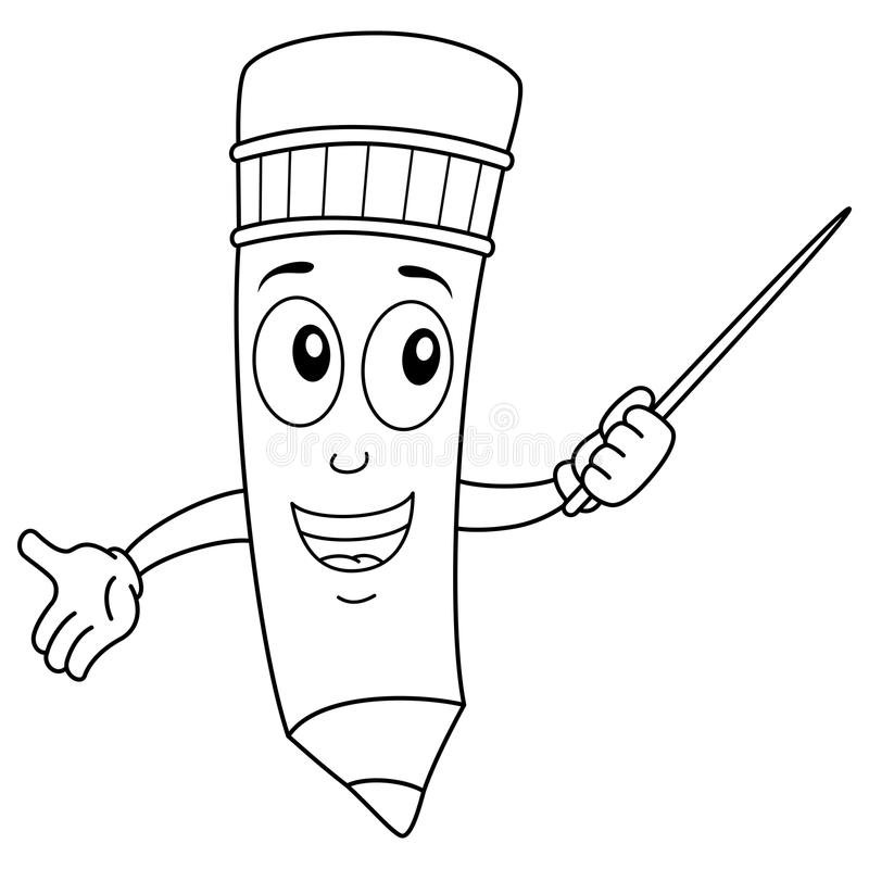 Kolorystyka Ołówkowy charakter Trzyma pointeru royalty ilustracja
