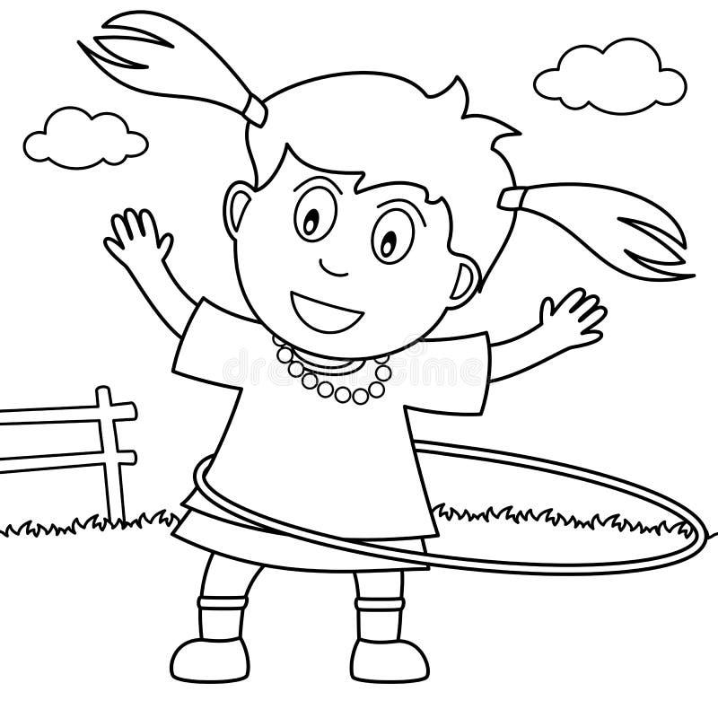 Kolorystyki dziewczyna Bawić się Hula obręcz w parku ilustracja wektor