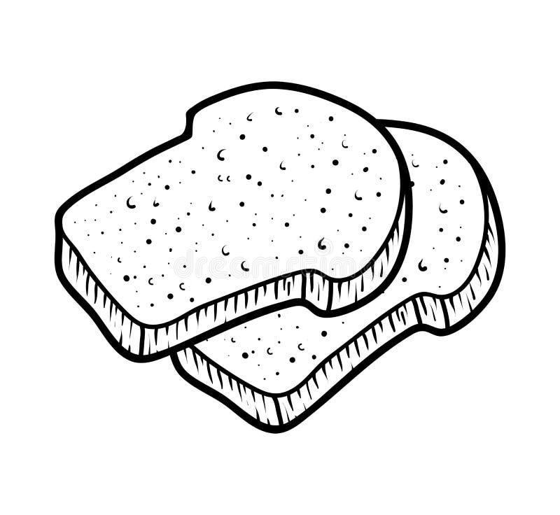 Kolorystyki książka, grzanka chleby ilustracja wektor