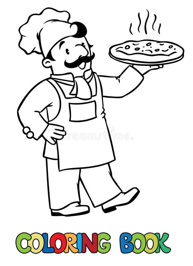 Kolorystyki książka śmieszny kucharz lub szef kuchni z pizzą royalty ilustracja