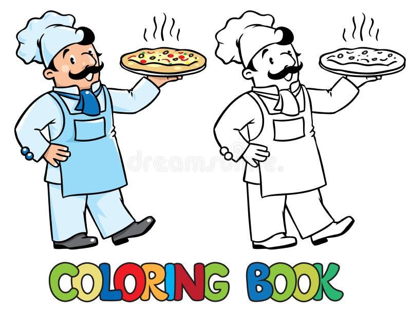 Kolorystyki książka śmieszny kucharz lub szef kuchni z pizzą ilustracja wektor