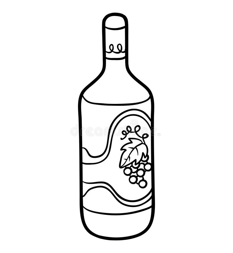 Kolorystyki książka, butelka wino ilustracja wektor