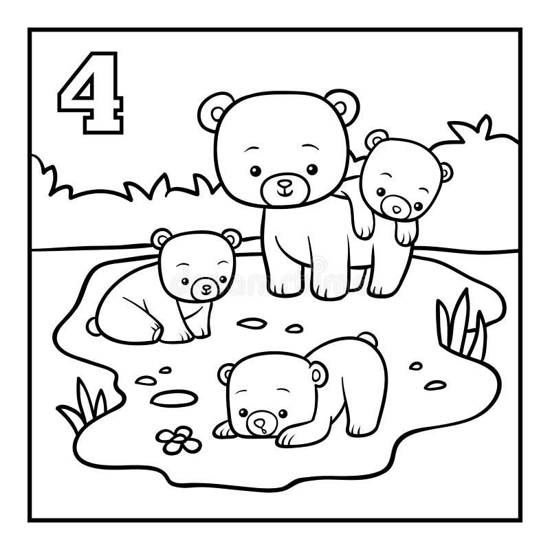 Kolorystyki książka, Cztery niedźwiedzia ilustracja wektor