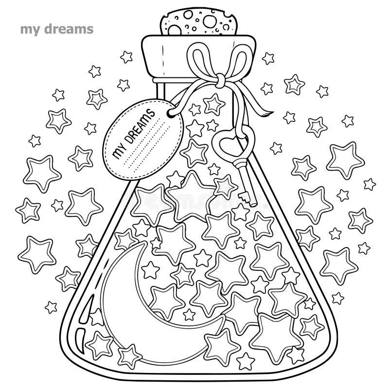 Kolorystyki książka dla dorosłych Szklany naczynie z sen Butelka z gwiazdami i księżyc ilustracja wektor