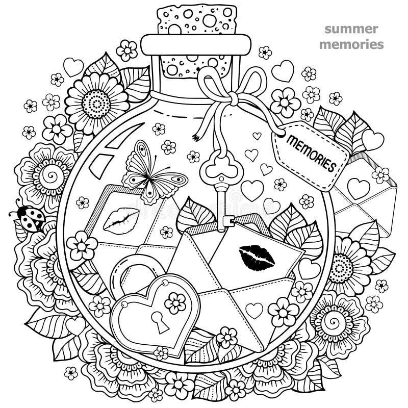 Kolorystyki książka dla dorosłych Szklany naczynie z wspominkami lato Butelka z pszczołami, motylami, biedronką i liśćmi, royalty ilustracja