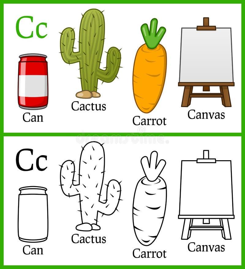 Kolorystyki książka dla dzieci - abecadło C ilustracji