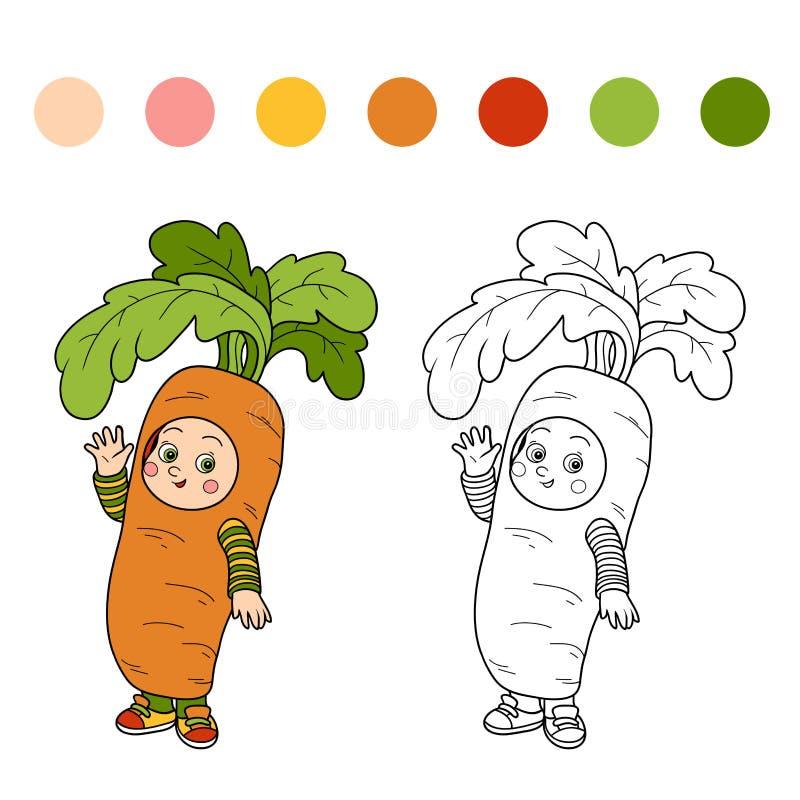 Kolorystyki książka dla dzieci: Halloweenowi charaktery (marchwiany kostium royalty ilustracja