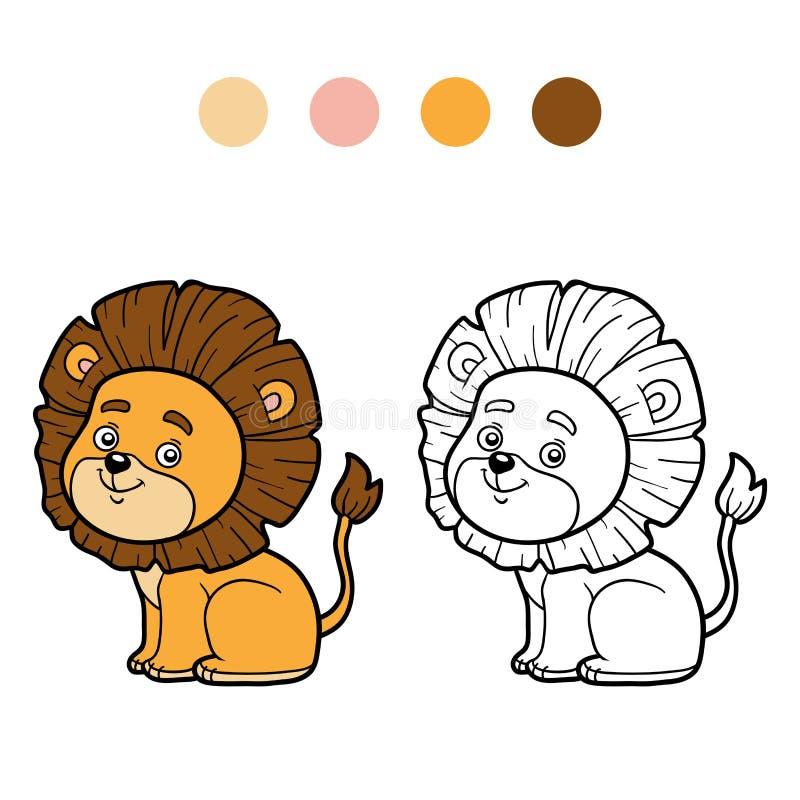 Kolorystyki książka dla dzieci, mały lew royalty ilustracja