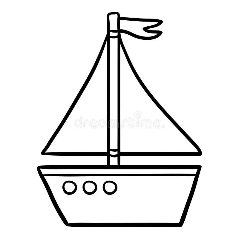 Kolorystyki książka dla dzieciaków, jacht ilustracji